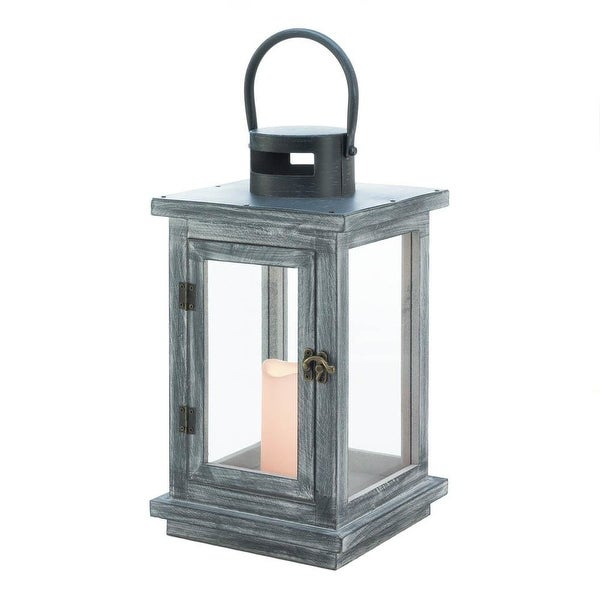 Novelty Distressed Gray Lantern With LED Candle