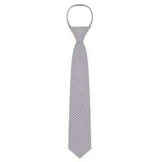 "Jacob Alexander Polka Dot Print Boys 14"" Polka Dotted Zipper Tie (Option: Silver)"