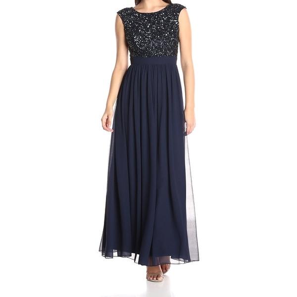 Shop Aidan Mattox Blue Women\'s Size 6 Sequined Chiffon Gown Dress ...