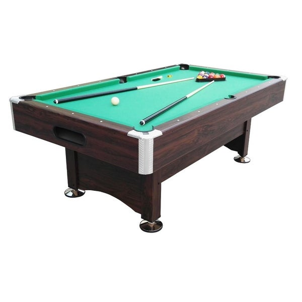 6' x 3.3' Brown and Green Billiard and Pool Game Table