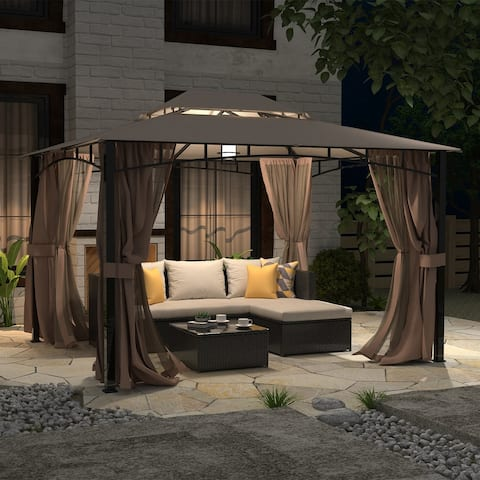 HSCW Patio Gazebo with Mosquito Netting Outdoor Gazbeo Canopy 10x12 Backyard Double Roof Vented, Sand