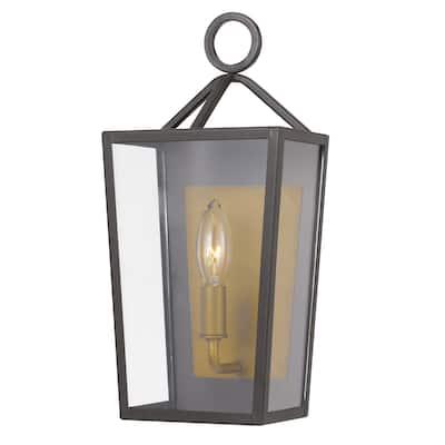 "Monterrey 14 In 1-Light Satin Brass Outdoor Wall Sconce Lamp - 6.75""W x 5.25""D x 14.25""H"