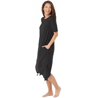 Cuddl Duds Womens Elbow-Sleeve Rainbow Hem Lounge Dress Medium Black A346868