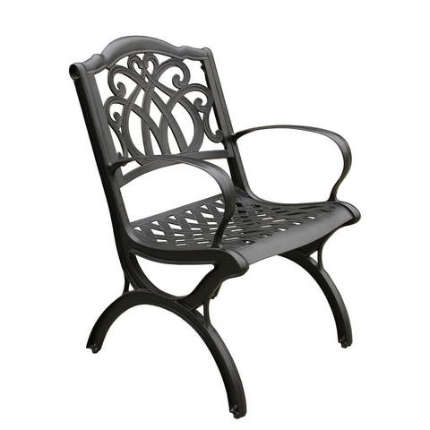 Ornate Traditional Outdoor Cast Aluminum Patio Dining Chair