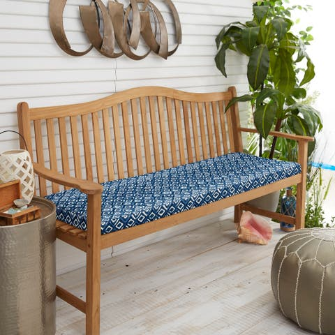 Graphic Indigo and Navy Indoor/ Outdoor Bristol Bench Cushion
