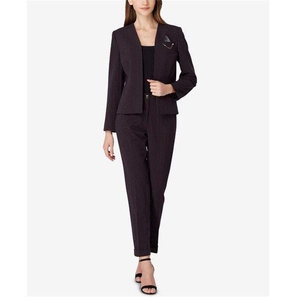 Tahari Womens Chain Detail Blazer Jacket, Black, 8. Opens flyout.