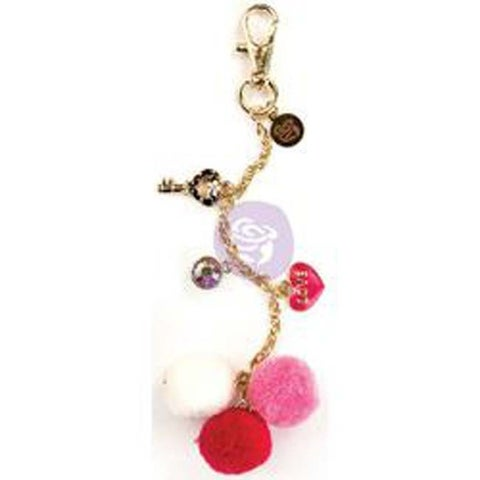 Raspberry Kisses - My Prima Planner Pom Pom Key Chain Adornment