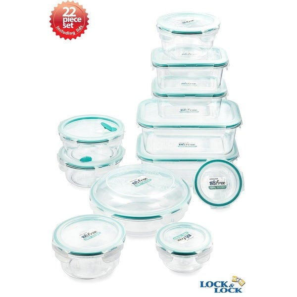 Lock & Lock Assorted Size Plastic Canister 30 Piece Set with Interlock Lids