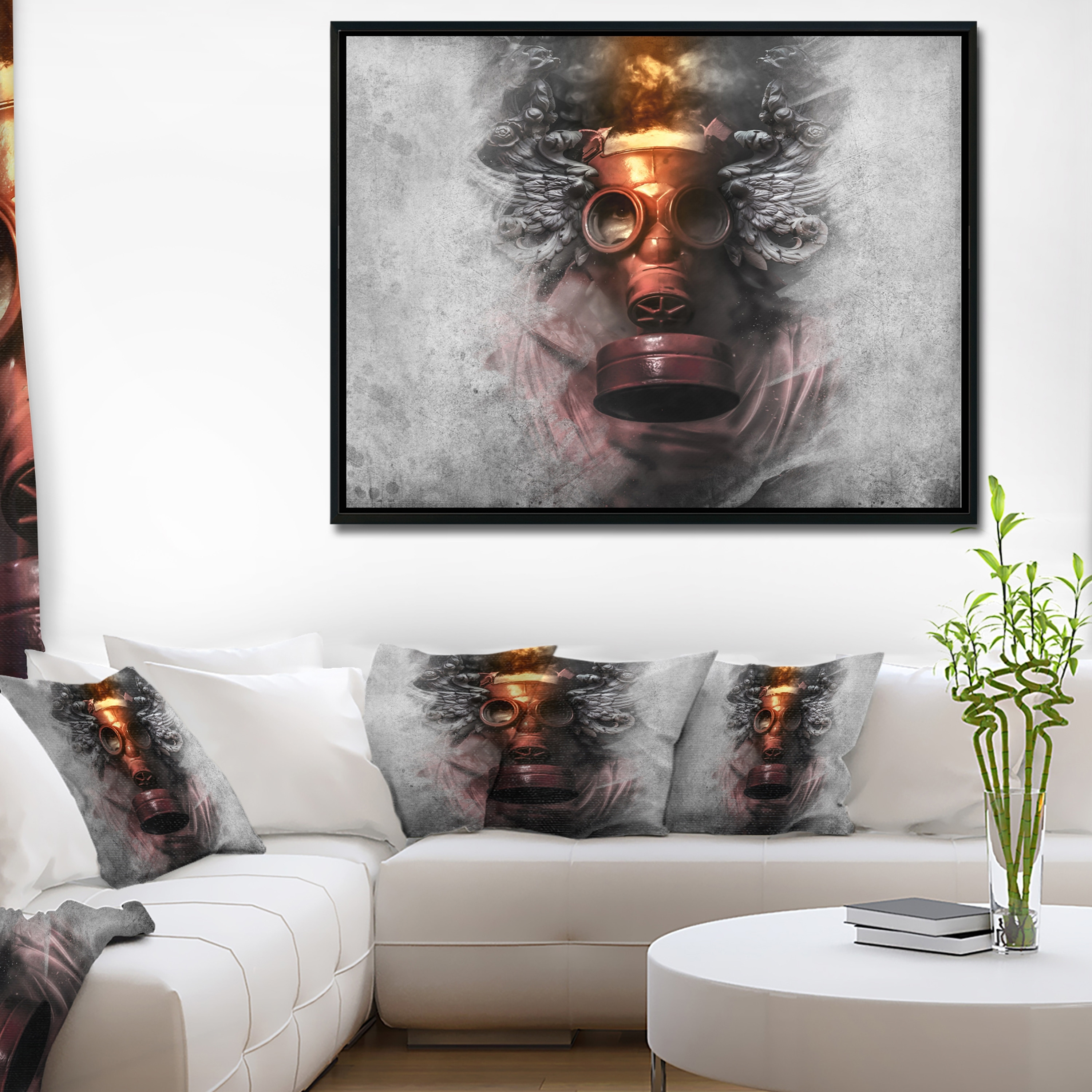 Designart Toxic Man In Mask Abstract Portrait Framed Canvas Print Overstock 18952934