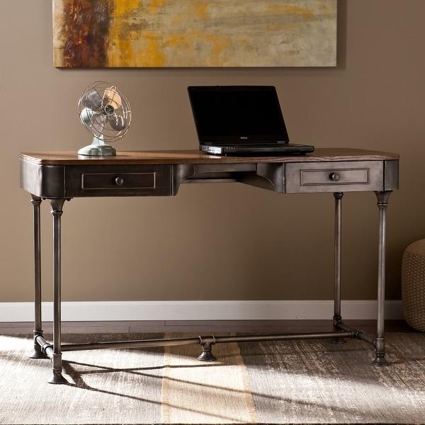 Carbon Loft Baldwin Industrial 2-drawer Desk. Opens flyout.
