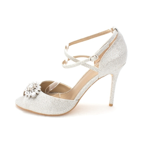 Belle Womens okra Open Toe Ankle Strap Classic Pumps - 8