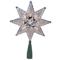 """8"""" Silver Mosaic 8-Point Star Christmas Tree Topper - Clear Lights"""