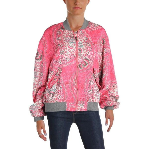 Free People Womens Bomber Jacket Fall Tencel