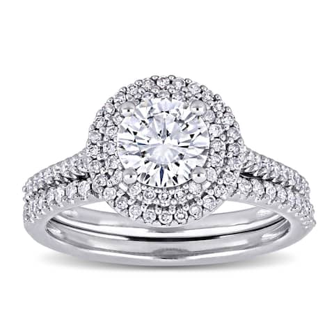 Miadora 1ct DEW Moissanite and 1/2ct TDW Diamond Halo Bridal Ring Set in 14k White Gold