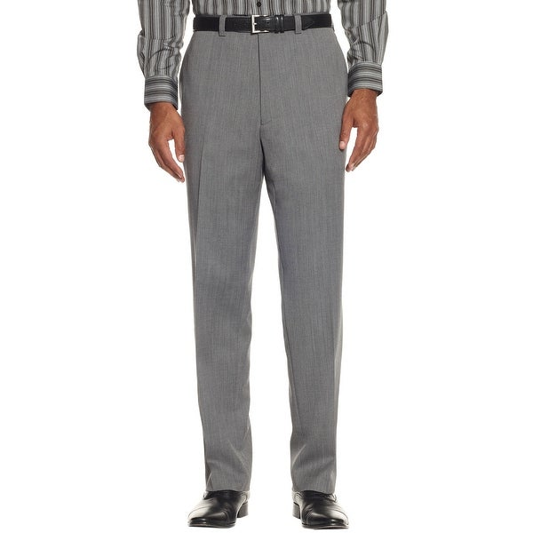 Ralph Lauren Wool Herringbone Flat Front Dress Pants Charcoal Grey 32 x 30