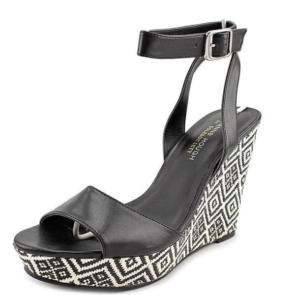 Julianne Hough Adrienne Women Open Toe Synthetic Black Wedge Sandal