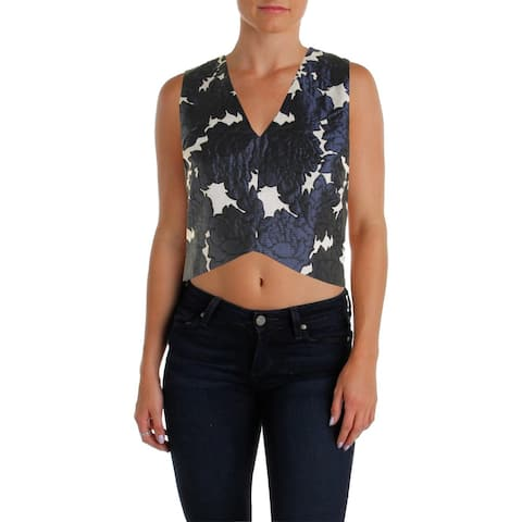 Lucy Paris Womens Crop Top Partially Lined Brocade