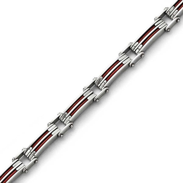 Chisel Stainless Steel Metallic Red Leather Polished Link Bracelet