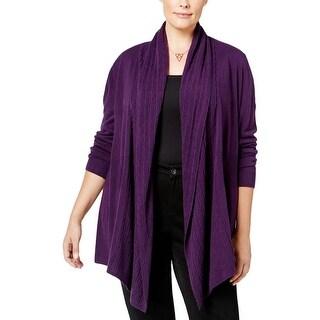 Karen Scott Womens Plus Cardigan Sweater Open Front Ribbed