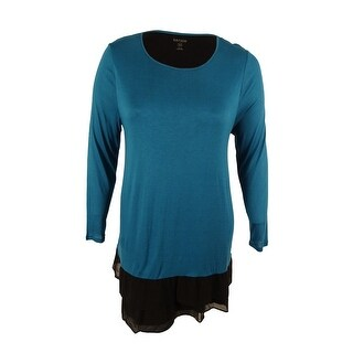 Kensie Women's Long Sleeve Ruffle Trim Tunic Dress - Teal Multi