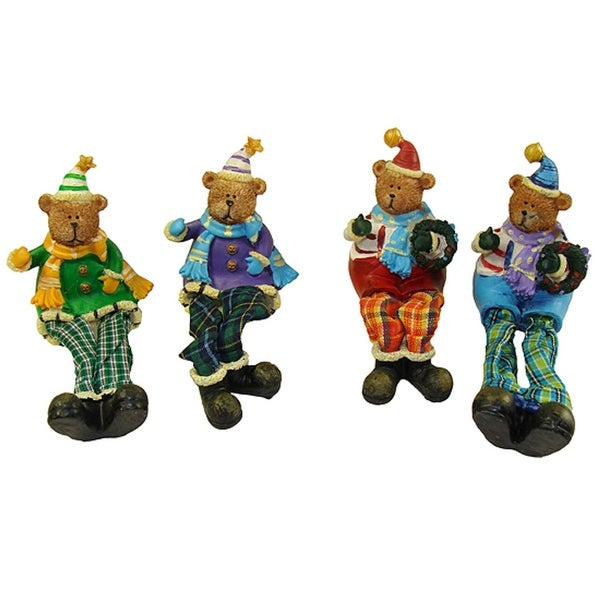 "Club Pack of 144 Plaid Sitting Teddy Bear Christmas Table Top Figures 5.5"""