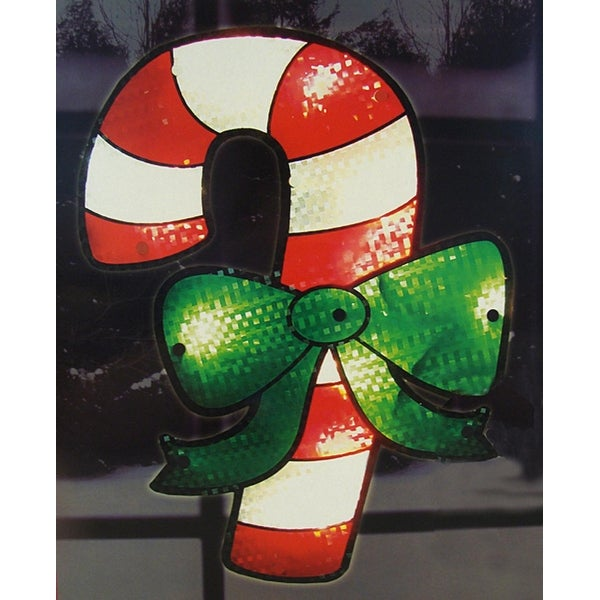 "16"" Lighted Shimmering Candy Cane Christmas Window Silhouette Decoration"