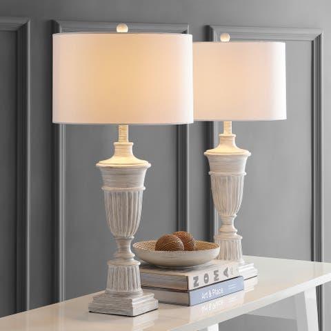"""SAFAVIEH Lighting 31-inch Kylen White LED Table Lamp (Set of 2) - 15""""x15""""x31"""""""
