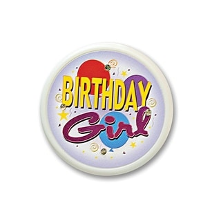 """Pack of 6 """"Birthday Girl"""" Flashing Costume Celebration Buttons 2.5"""""""