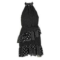 Betsey Johnson Black White Sleeveless Polka Dot Ruffled Halter Dress 2