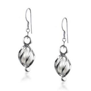 Bling Jewelry White Freshwater Cultured Pearl Caged Sterling Silver Drop Earrings y1SztJJJ