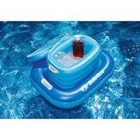 "33"" Blue and White ""CoolCat"" Floating Inflatable Cooler Beverage Holder with Base"