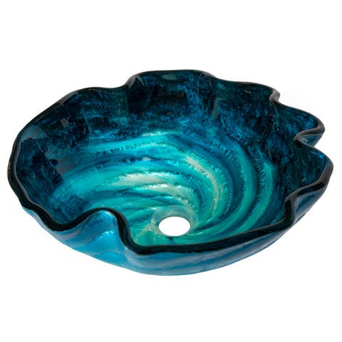 Eden Bath Caribbean Wave Glass Vessel Sink