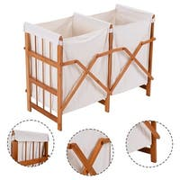 Costway Household Folding Bamboo Frame Laundry Hamper Clothes Storage Basket Bin W/2 Bag - Natural