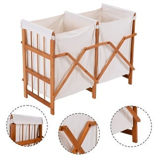 Costway Household Folding Bamboo Frame Laundry Hamper Clothes Storage Basket Bin W/2 Bag