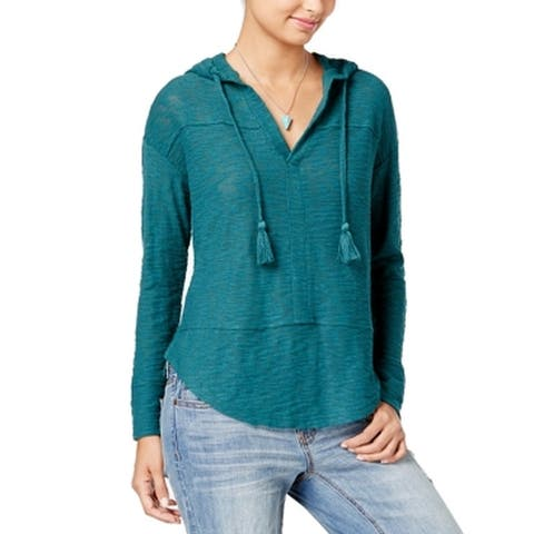 Roxy Teal Women's Medium Split Neck Hooded Sweater