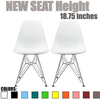2xhome - Set of 2, White Designer Plastic Chair Silver Wire Dining