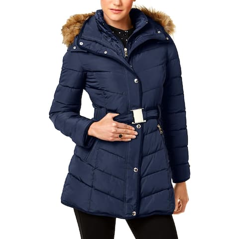 Tommy Hilfiger Womens Petites Puffer Coat Faux Fur Winter - Navy