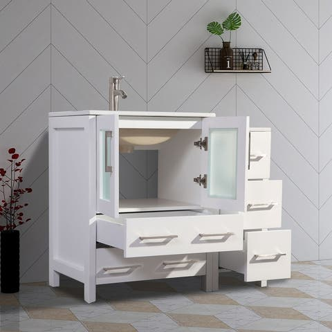 Vanity Art 42 Inch Single Sink Bathroom Vanity Set 5 Dove-Tailed Drawers 1 Cabinets 1 Shelf, Soft-Closing Doors with Free Mirror