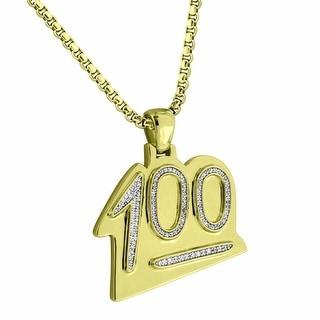 100 Emoji Pendant Lab Diamonds Free Stainless Steel Box Necklace Classy