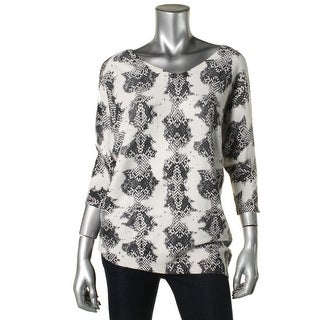 DKNYC Womens Double V Printed Pullover Sweater - XS
