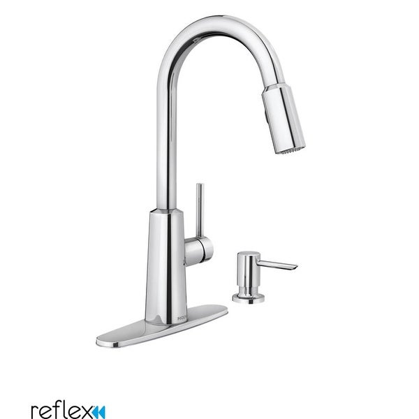 Moen 87066 Nori Pullout Spray High-Arc Kitchen Faucet with Soap Dispenser and Reflex Technology