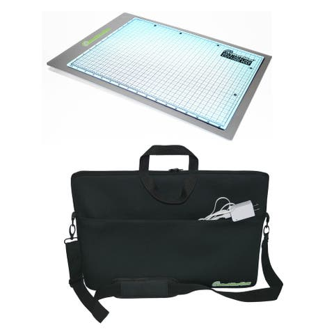 Cutterpillar Advanced LED Technology Glow Premium Light Board with Cutting Mat and Travel Tote Bundle