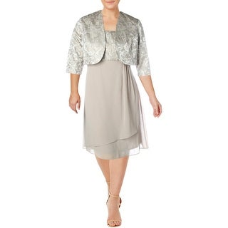 R&M Richards Womens Dress With Jacket Crinkled Knee-Length