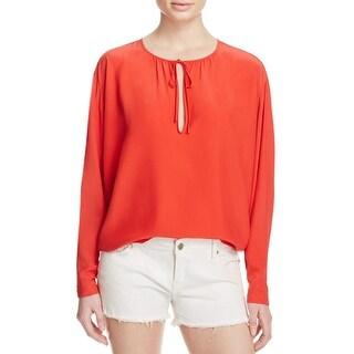 Frame Denim Womens Blouse Silk Raglan Sleeves