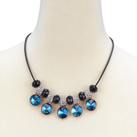 Blue Circular Shaped Acrylic Crystal Necklace