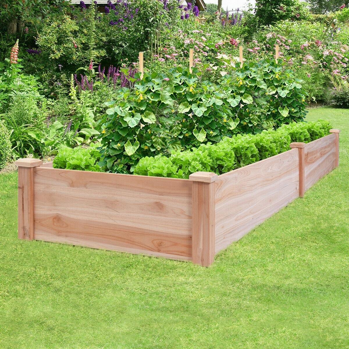 Shop Costway Wooden Vegetable Raised Garden Bed Backyard Patio
