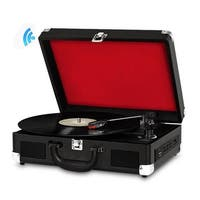 Bluetooth Classic Vintage Style Turntable Speaker System, Vinyl-to-MP3 Recording, MP3/USB/SD Readers, Briefcase-Style (Black)