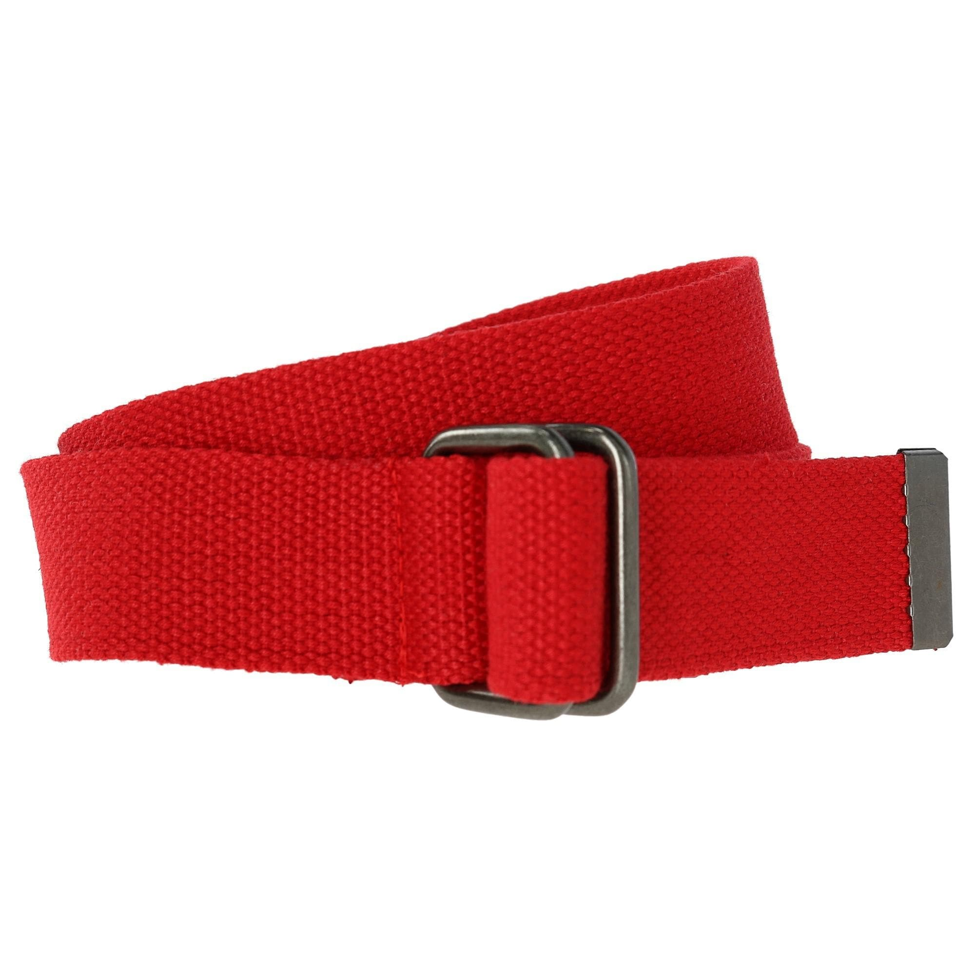 Mens Canvas Belt RED Double D Ring Buckle Womens No Hole X Large Size