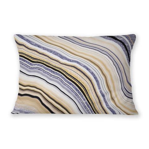 AGATE PURPLE Indoor Outdoor Lumbar Pillow By Marina Gutierrez
