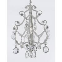 Wrought Iron & Crystal 1 Light Chandelier Pendant White with 40mm Faceted Crystal Balls.